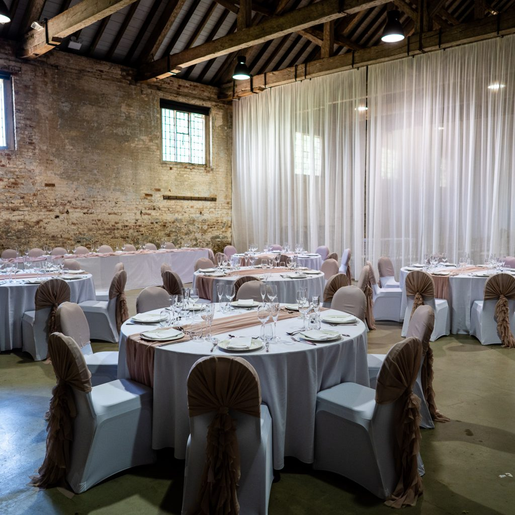Simple wedding breakfast st up with round tables