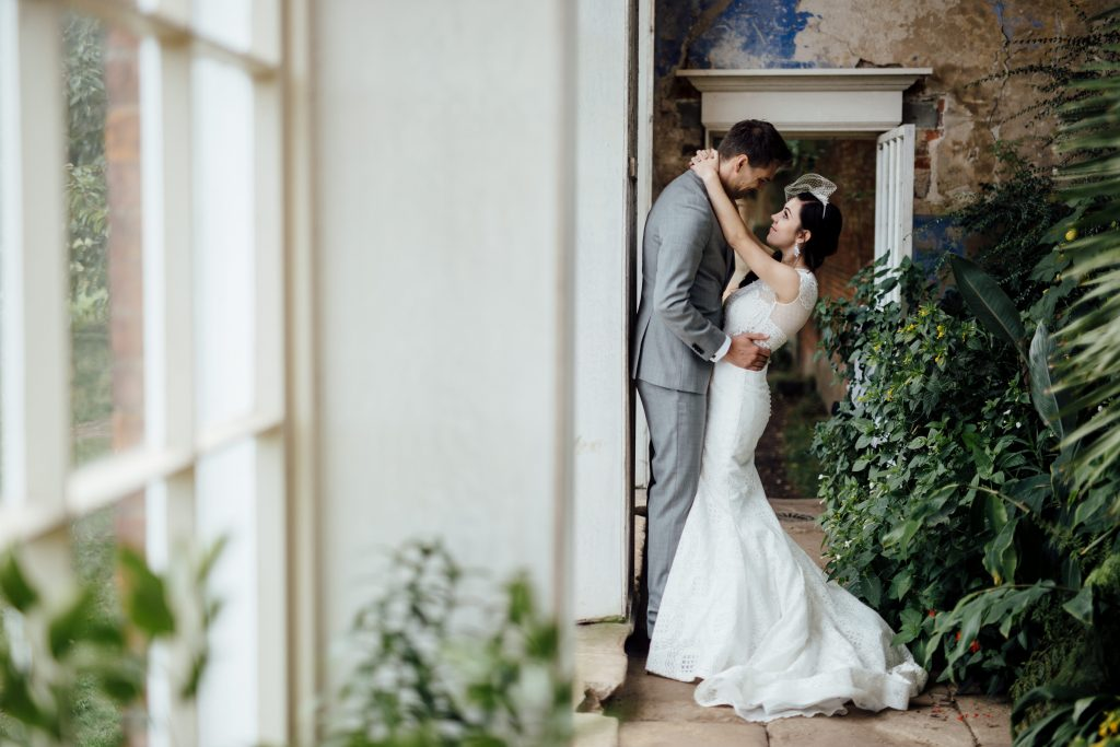 Bride and Groom in romantic pose