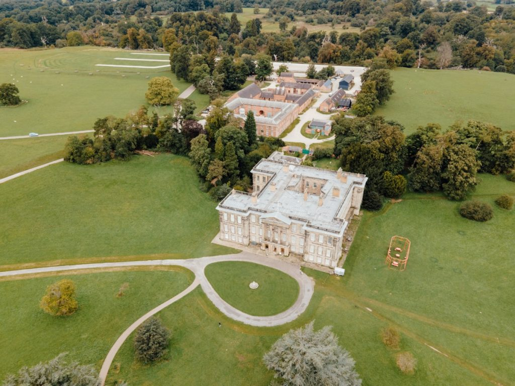Calke Abbey and the Riding School from above